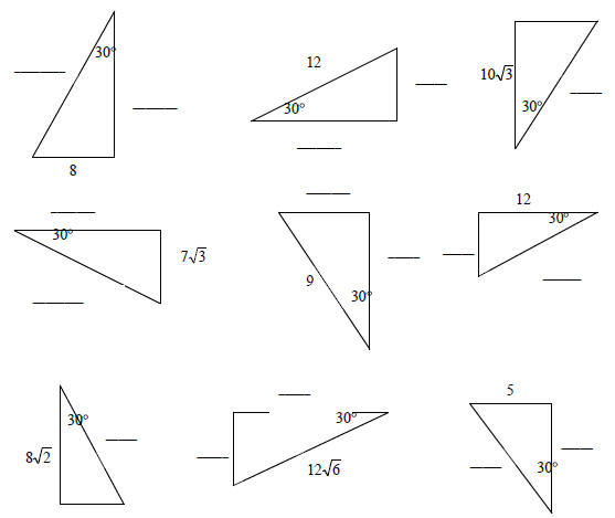Worksheet 30-60-90 Triangle Worksheet pre calculus